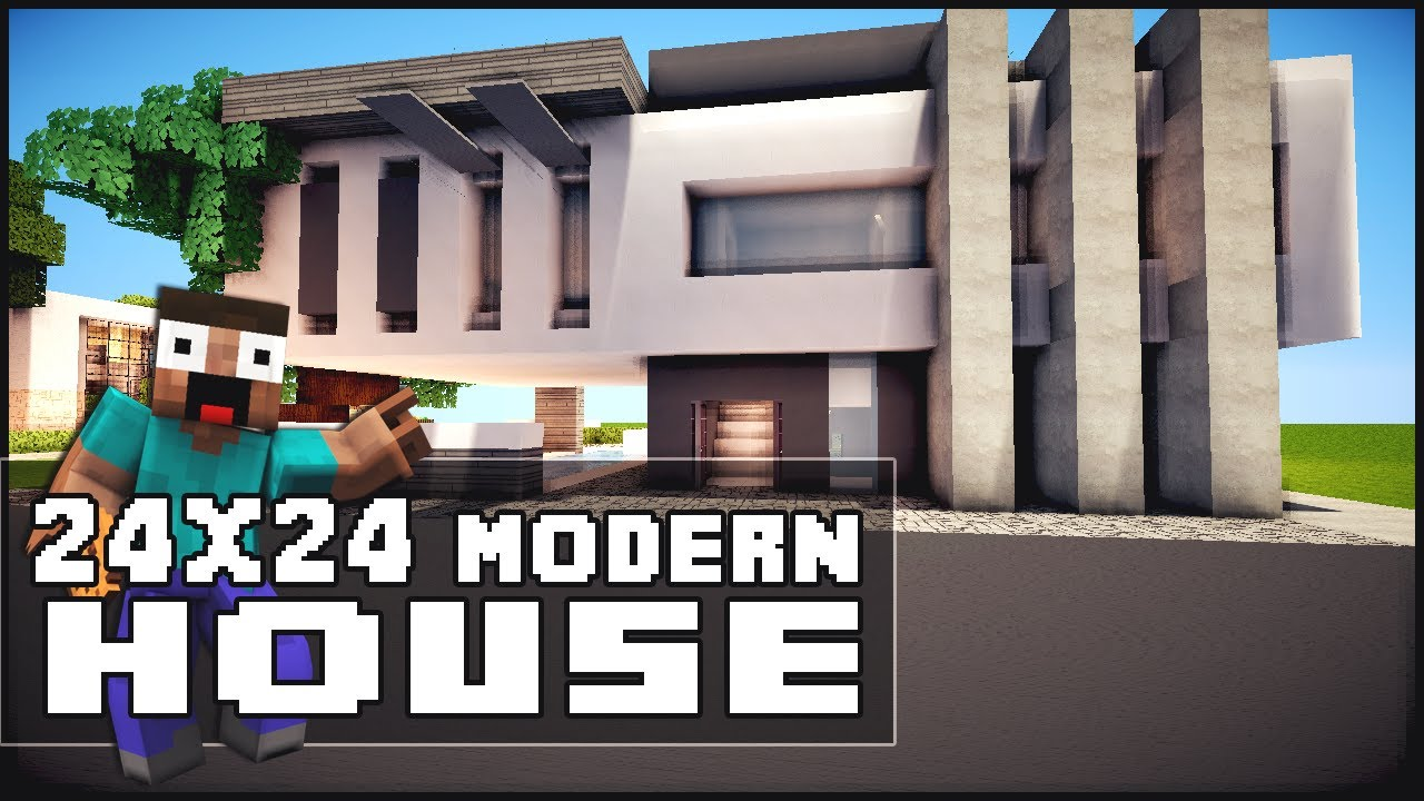 Minecraft house tutorial 24x24 modern house doovi for Big modern house tutorial