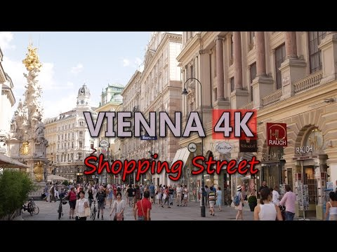 Ultra HD 4K Vienna Travel Lifestyle Shopping Street German Tourism Tourist Sight Video Stock Footage