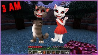 NO INVOQUES NUNCA A TALKING TOM y ANGELA DE MADRUGADA MINECRAFT-3 A...