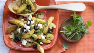 Картофель по-гречески. Жареный на сковороде картофель.