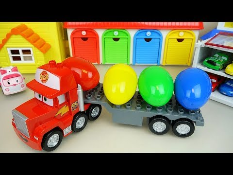 Carrier cars and Surprise eggs transformers and Poli car toys play
