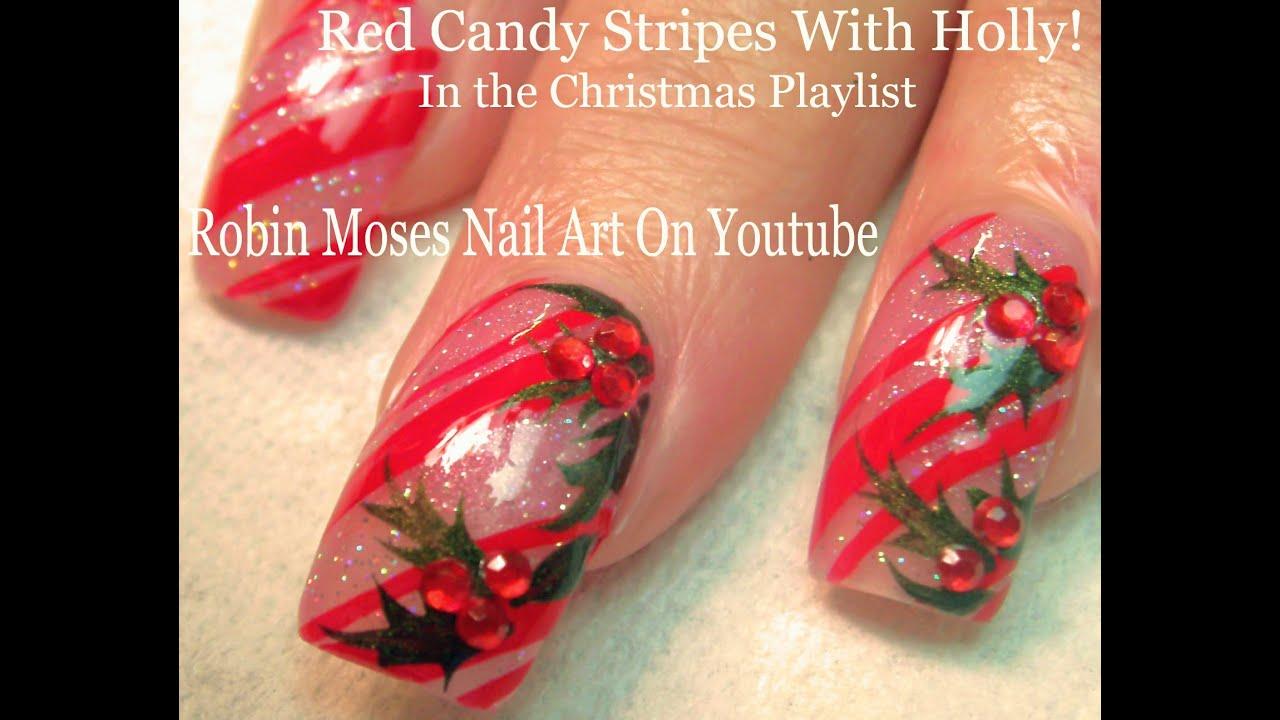 Easy Xmas Nails! | Holly and Candy Cane Nail Art Design ...