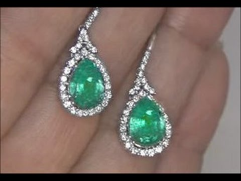 Kim Kardashian Lost Colombian Emerald Diamond Earrings Set In Solid 14k White Gold Must Be Sold