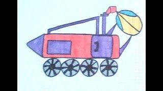 Как нарисовать луноход - How to draw a lunar rover - 如何繪製月球車
