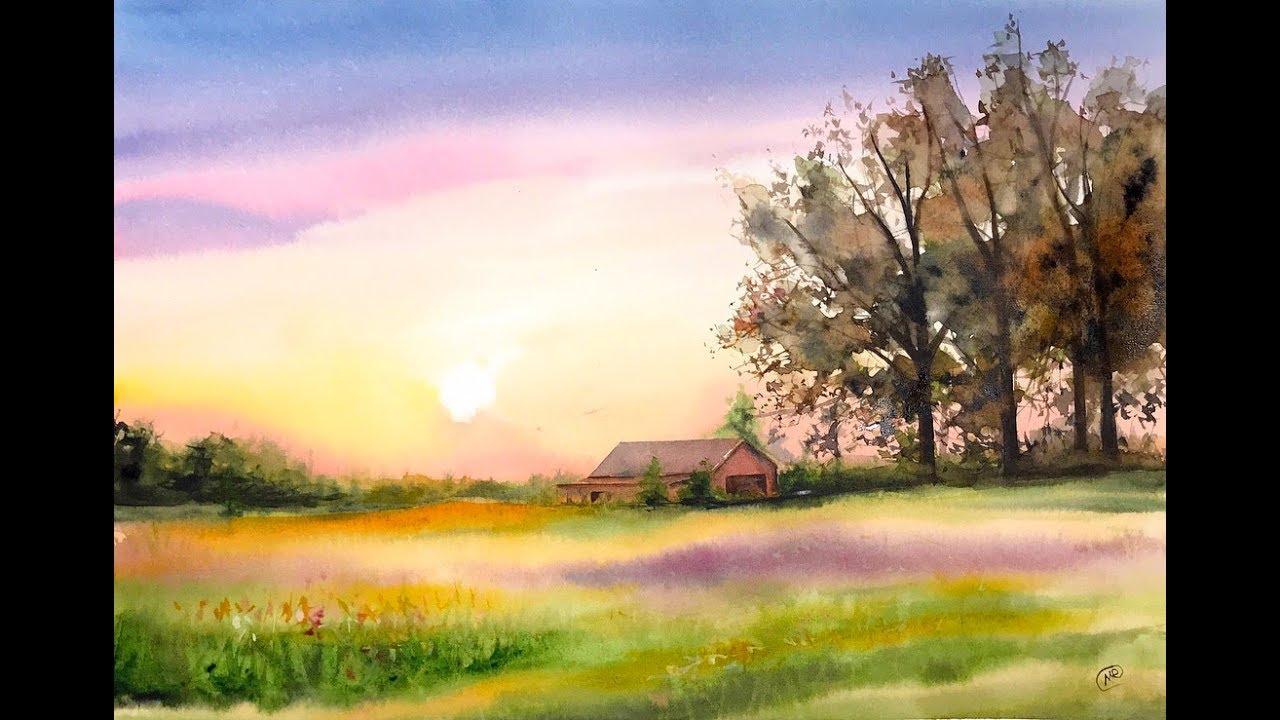 watercolor landscape countryside