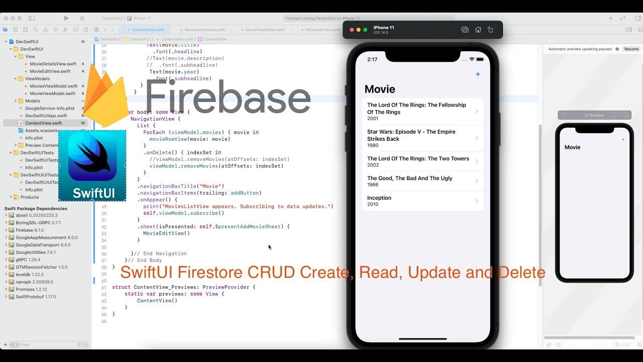 SwiftUI Firestore CRUD Create, Read, Update and Delete