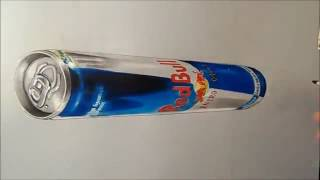 Drawing  3D Red Bull Can