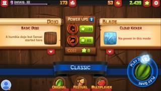 FRUIT NINJA CLASSIC gameplay- Trying to get the bamboo sword.