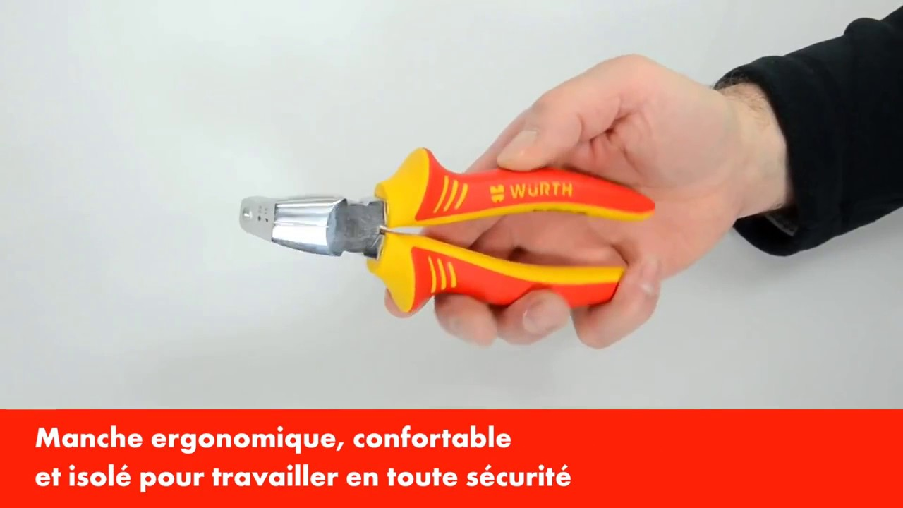 Wurth ergonomic 3 in 1 VDE stripping pliers 0714 01 588 [French]