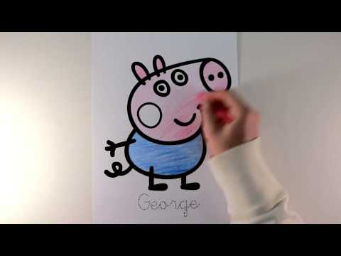 Coloring  Peppa Pig George Mummy Pig and Daddy Pig With Crayon!