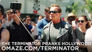 Arnold Pranks Fans as the Terminator...for Charity(Want to ride up with me to the Terminator Genisys Premiere and drinks Schnapps with me at the after party? Enter here: http://bit.ly/TERMINATOR_PREMIERE ..., 2015-06-17T23:30:23.000Z)
