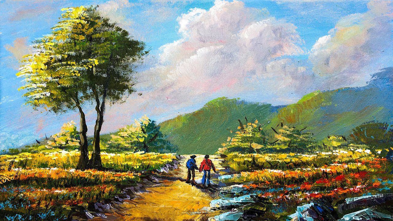 Passer By   Easy Acrylic Landscape Painting in Time-lapse   Art Candy Nepal