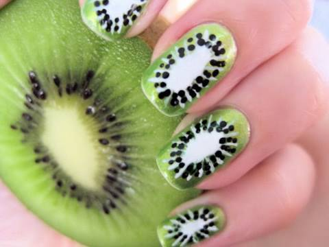 Kiwi Fruit Nail Art