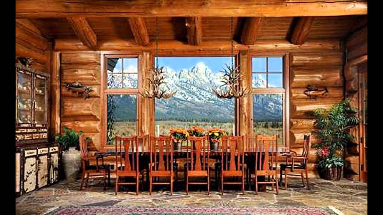 Log home interior design ideas - YouTube