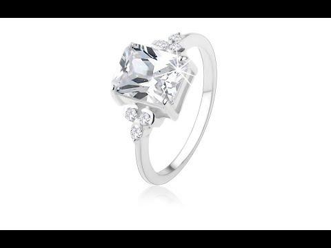 57d9c6b1d Šperky – Prsten ze stříbra 925, masivní obdélníkový zirkon čiré barvy