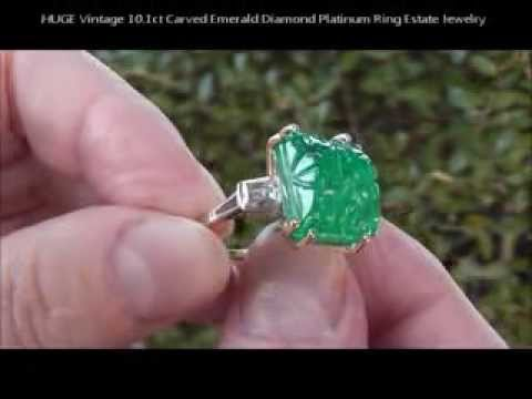 emerald jewelry antique ring cabochon and diamond estate