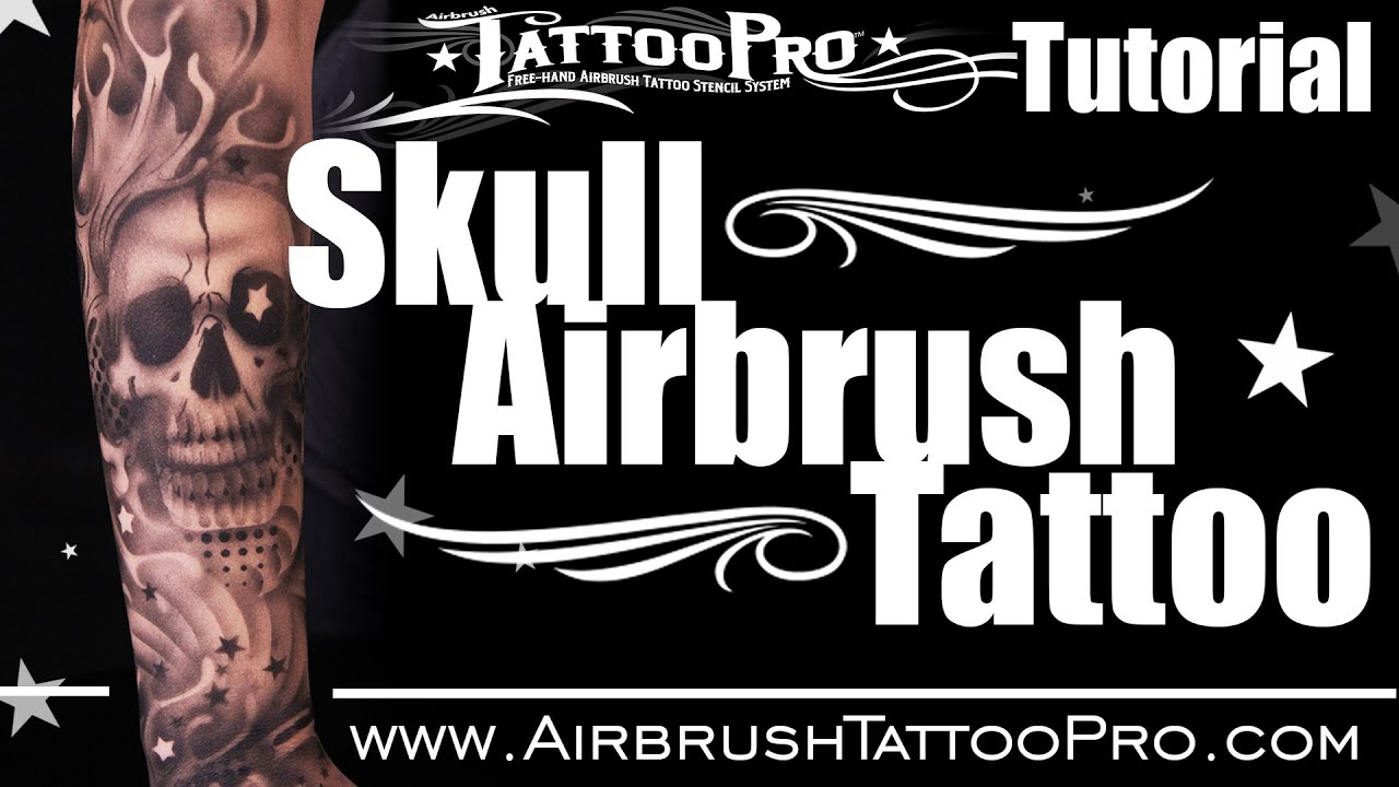 TattooPro Stencil Tutorial: Skull Airbrush Tattoo - YouTube