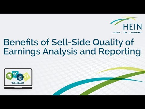 Benefits of Sell-Side Quality of Earnings Analysis and Reporting Webinar