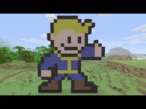 Minecraft Tutorials - Fallout 4 Vault Boy Pixel Art