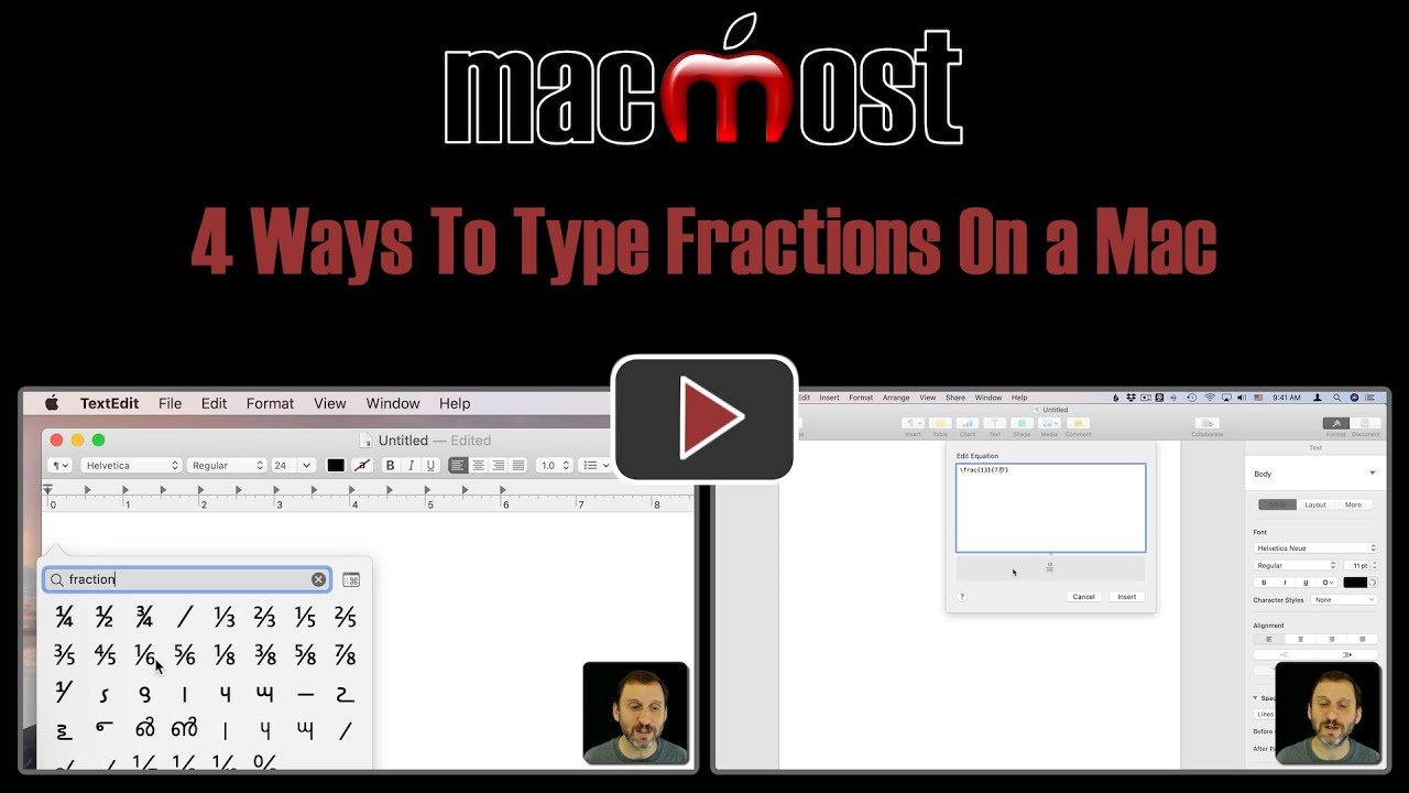 16 Ways To Type Fractions On a Mac (MacMost #16)