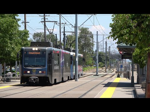Sacramento SACRT Light Rail Gold Line Trains At The Cordova Town Center Station, Rancho Cordova CA