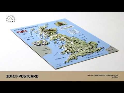 Postcard - 3D Raised Relief Maps of United Kingdom
