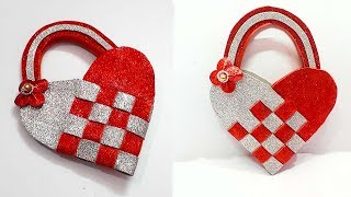 How to Make Heart shape Basket from Glitter Foam sheet at home| valentine gift idea