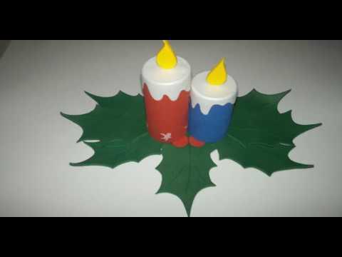 Arreglo navideño en foami con velas decorativas para ...