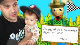 i guess baldi lives in a corn field now... | Baldi's Basics (with a baby)