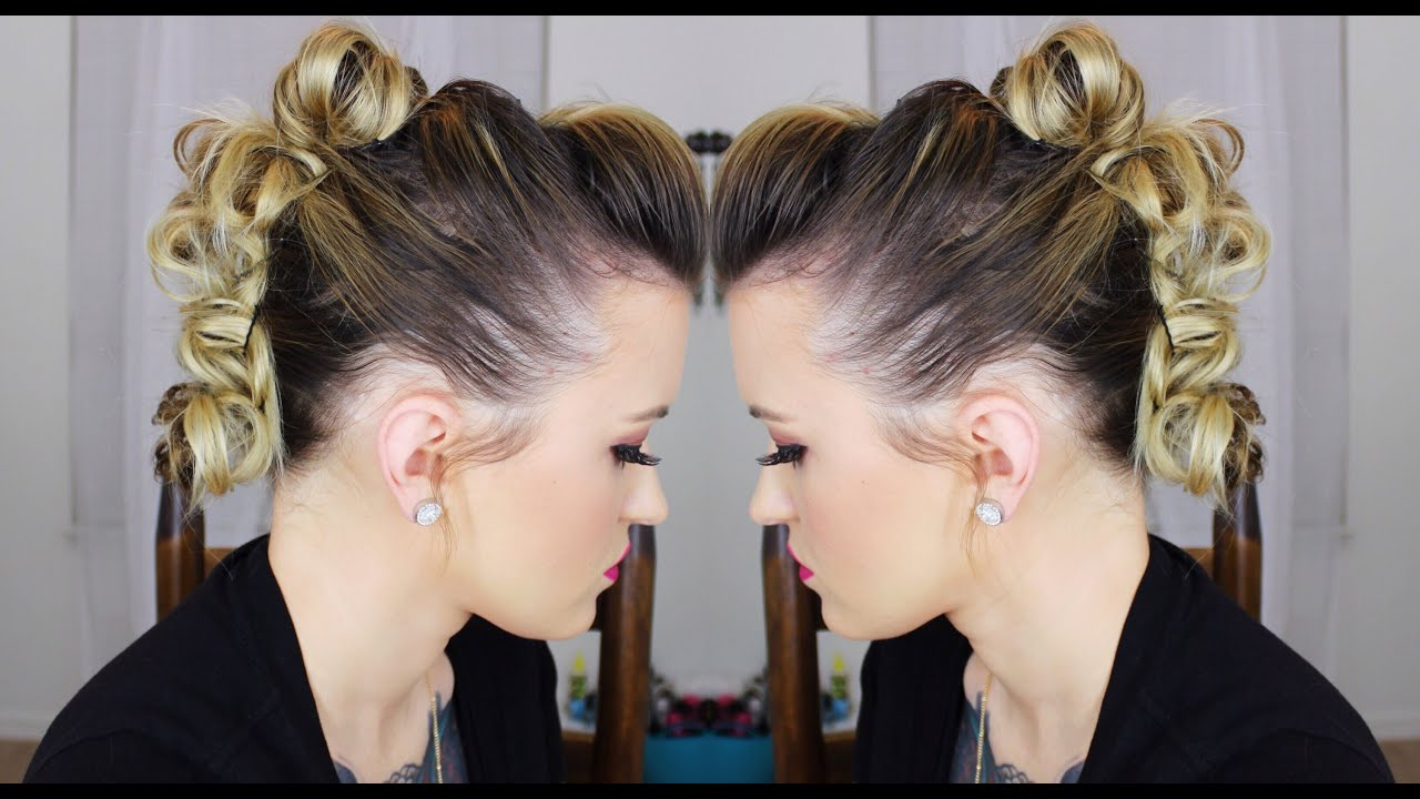 Messy Bun Mohawk Edgy Updo Youtube