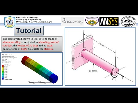 ANSYS Mechanical Tutorial –The cantilevered -Combined stress (tension , bending and torsion) stress.из YouTube · Длительность: 10 мин55 с