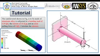 ANSYS Mechanical Tutorial –The cantilevered -Combined stress (tension , bending and torsion) stress.