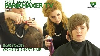 Женская стрижка с ассиметрией How to cut women's short hair. parikmaxer.tv