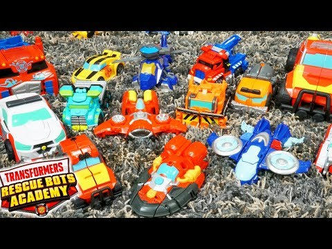 Transformers Rescue Bots Academy Hot Shot Hovercraft And Full Recruit Robots Collection!
