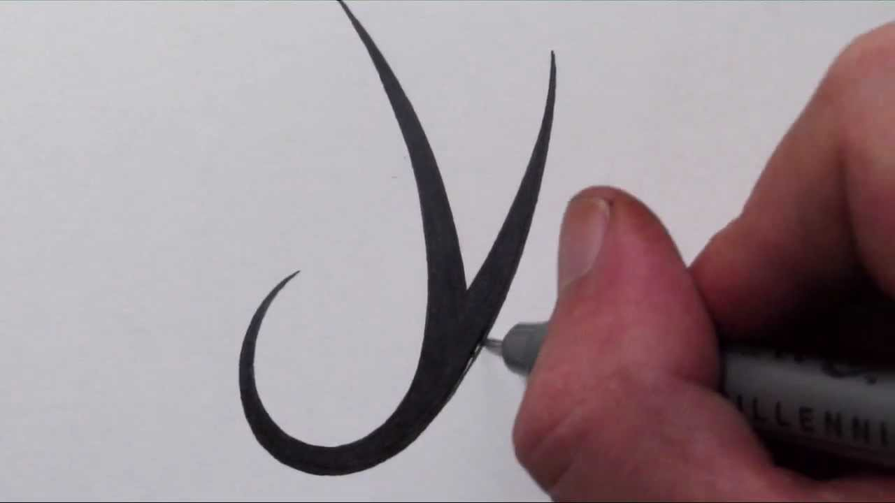 How To Draw A Simple Tribal Letter Y Youtube
