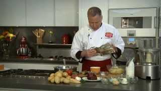 Au Gratin Potato Towers With Roasted Red Bell Pepper Sauce