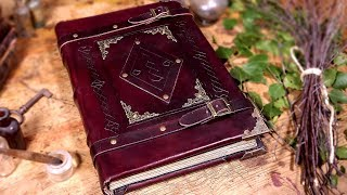 Making a HEAVY Spellbook with REAL Leather!