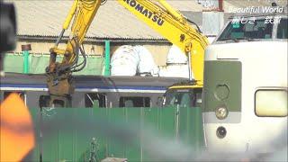 廃車E217系Y-49編成 休み明け 解体作業始まる!2021.3.8 JR長野総合車両センター    panasd 2246