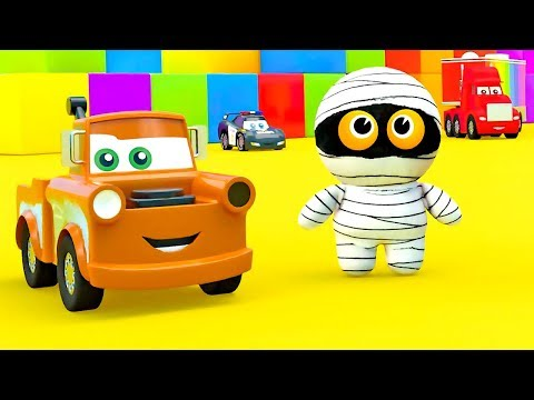 Ancient Cute Mummy visits Little Toys Cars city, McQueen Cars friends help Mommy to buid Color House
