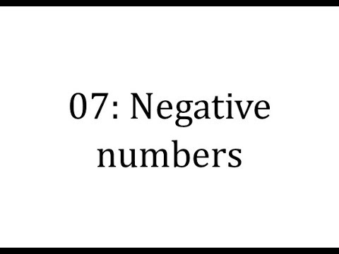 07 intro: Negative numbers