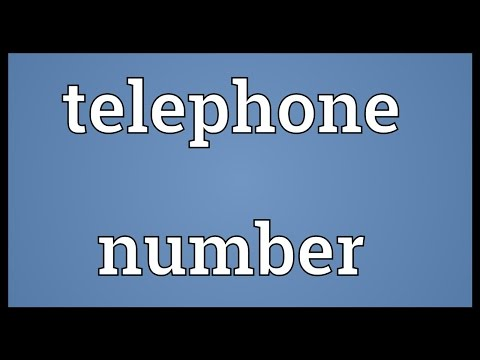 Telephone number Meaning