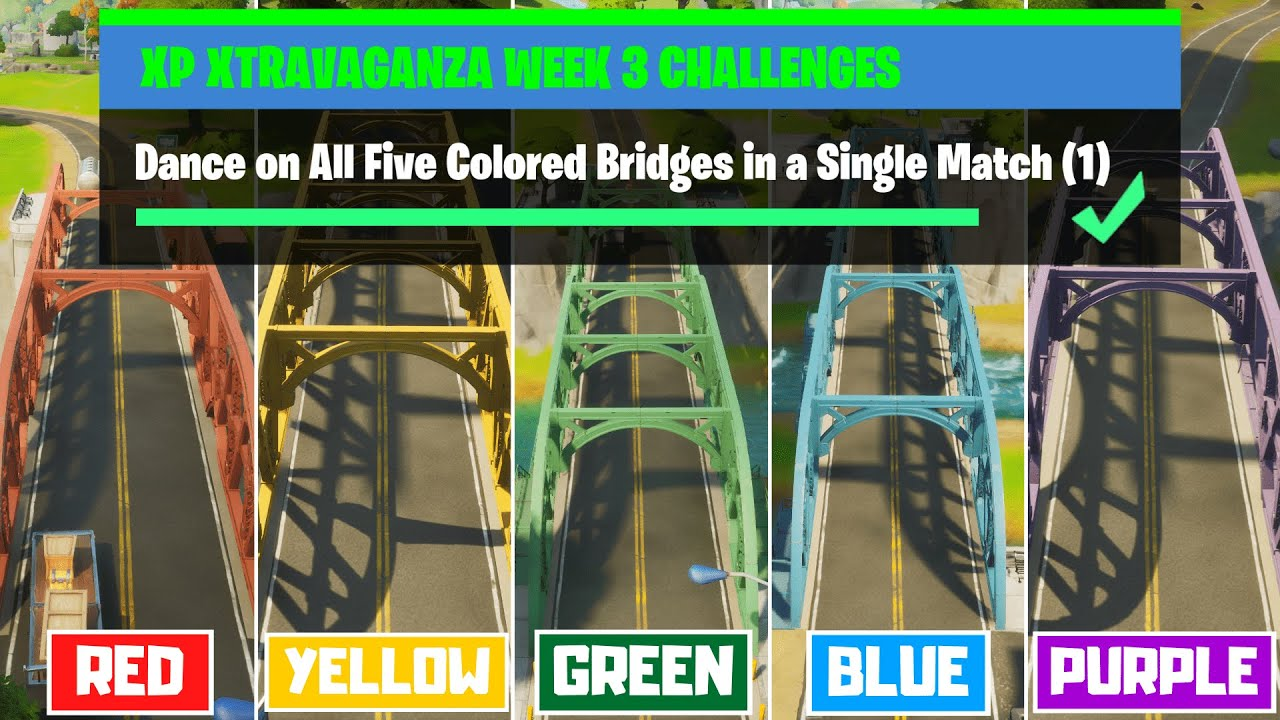 Dance on All Five Colored Bridges in a Single Match in Fortnite! - XP Xtravaganza Week 3 Challenges