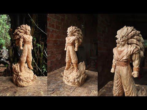 How to Carve GOKU Super Saiyan 3 FLYING OUT OF WOOD - sculpture timelapse
