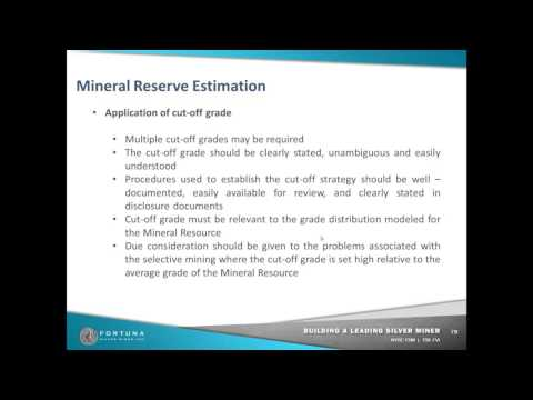 Mineral reserve estimation