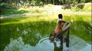 Net Fishing | Catching Big Fish With Cast Net | Net Fishing in the village (Part-123)