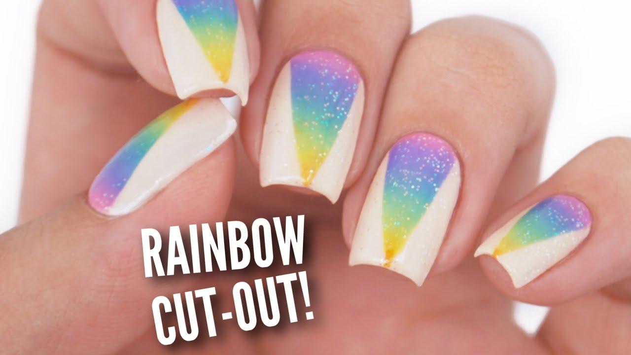 rainbow ombre cut nails