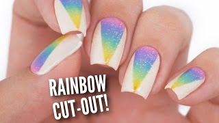 Rainbow Ombre Cut Out Nails!