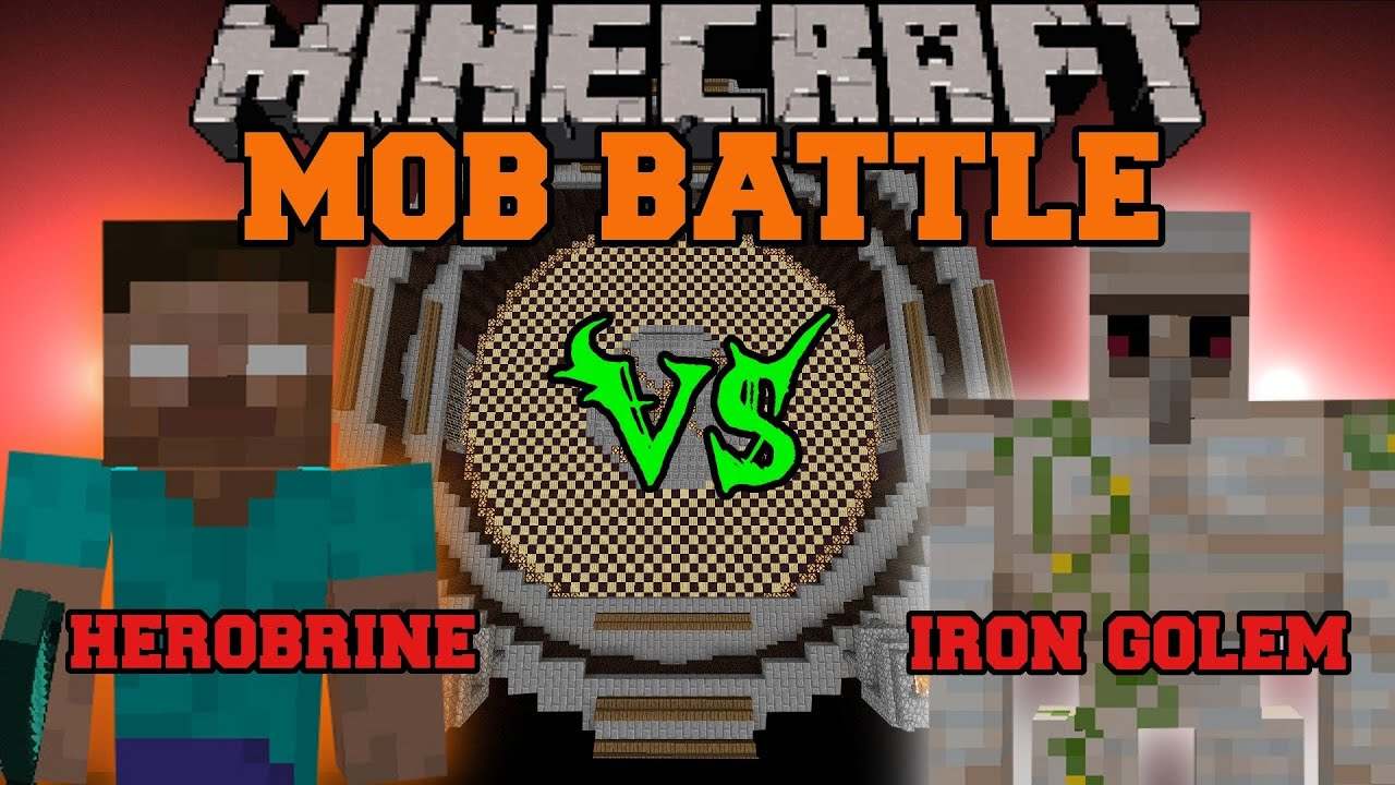 Herobrine Vs Iron Golem Minecraft Mob Battles Arena