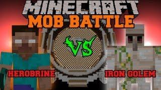 Herobrine Vs Iron Golem - Minecraft Mob Battles - Arena Battle