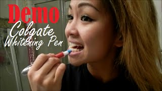 Colgate Optic White Toothbrush + Built-In Whitening Pen Demo | Camille